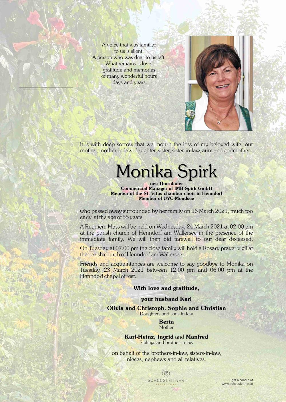 Monika Spirk - Death notice